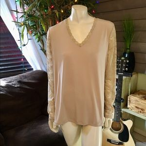 Susan Graver Champagne Colored Lace Trim Tunic XL
